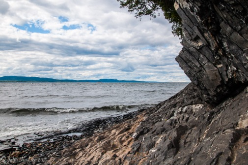Along the shoreline of Lake Champlain at Shelburne Farms