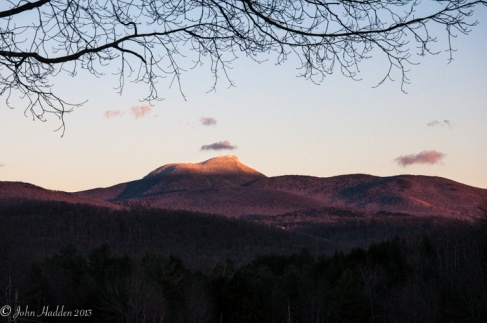 Huntington's iconic Camel's Hump during a late fall sunset.