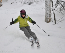 My daughter, Emma, arcs a graceful turn at Mad River Glen.
