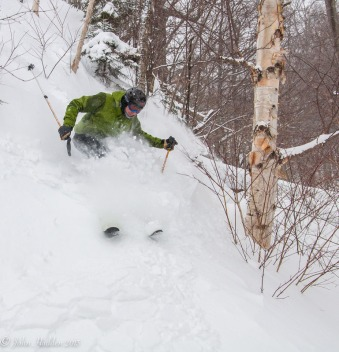 Paul Vichi drops a steep line at Mad River Glen.