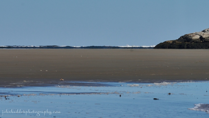Low tide along the sandbar at Popham Beach